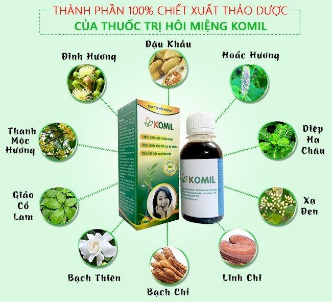 Thuốc chữa hôi miệng Komil chứa 100% thảo dược thiên nhiên