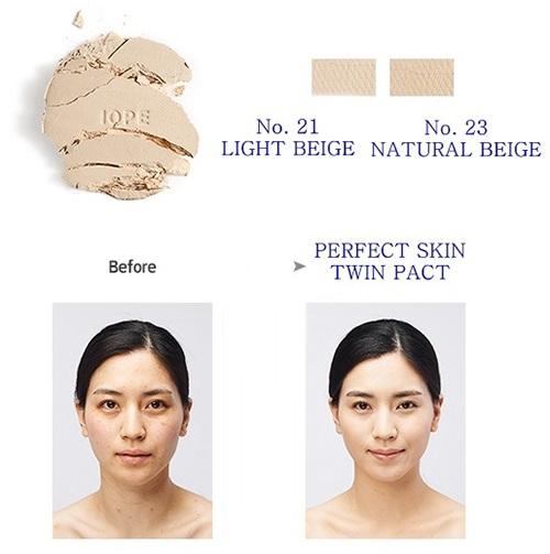 Phấn nén IOPE Perfect Skin Twin Pact có 2 tông màu để bạn lựa chọn