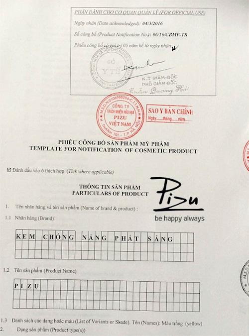 Kem chống nắng Pizu được cấp giấy chứng nhận an toàn